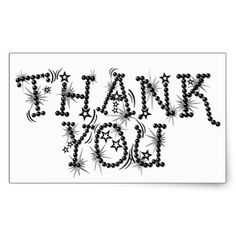 Thank You Text Elegant Stars Typography Rectangular Sticker - thanksgiving stickers holiday family happy thanksgiving