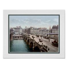 Vintage 1890s Glasgow Bridge Scotland photo Posters