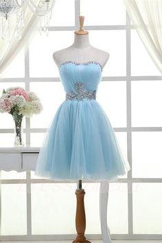 2016 Hot Selling Light Sky Blue Strapless Homecoming Dresses,Short Beading Homecoming Dress,Modest Cocktail Dresses,Graduation Dresses http://www.luulla.com/product/587879/2016-hot-selling-light-sky-blue-strapless-homecoming-dresses-short-beading-homecoming-dress-modest-c