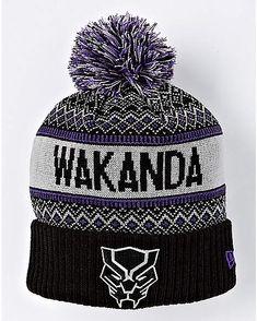 e09169383df Wakanda Black Panther Pom Beanie Hat - Marvel - Spencer s