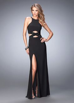 Sexy Fitted Black Halter Neck Modified Cutout Side Slit Formal Dress