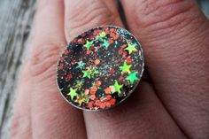Faerie Maiden Resin & Glitter Ring by MamaCassQueen on Etsy, $12.00