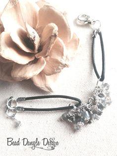 Moonstone and Pewter Beaded Black Leather Dangle Bracelet