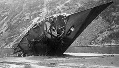 German destroyer Bernd von Arnim, sunk in the first Battle of Narvik in Norway by Royal Navy destroyers on 10 April British force commander Captain Warburton-Lee won a posthumous Victoria Cross. Narvik, Abandoned Ships, Ww2 Pictures, Total War, Aichi, Navy Ships, Time Photo, Royal Navy, Battleship