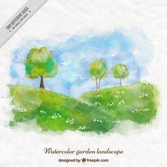 Watercolor cute garden landscape background Free Vector