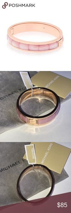 """MICHAEL KORS Rose Gold Faceted Hinge Bracelet Guaranteed Authentic! BEAUTIFUL!!! Michael Kors rose gold faceted hinged bracelet. Done in a blush tone with an equally soft-hued. Size: 2.5"""" inner diameter, and 0.5""""W. Item will be videotaped prior to shipping to ensure proof of condition. Michael Kors Jewelry Bracelets"""
