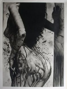 Original Realism Charcoal Drawing of Nude Girl Splattered with Paint Poster Size Sexy Drawings, Art Drawings, Horror Picture Show, Futuristic Art, Dark Photography, You Draw, Charcoal Drawing, Horror Art, Erotic Art