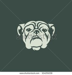 Bulldog head face Vector Illustration. Silhouette of the head Bulldog isolated on a dark background. Branding Identity Corporate Logo