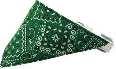 Emerald Green Western Bandana Pet Collar White Size 20
