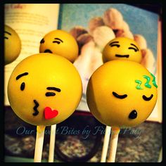 Our Emoji Icon inspired cake pops #oursweetbites Like us on Facebook rsweetbites@gmail.com Emoji Cake Pops, Cupcake Cakes, Cupcakes, Good Food, Fun Food, Valentines, Valentine Ideas, Cakepops, Party Themes