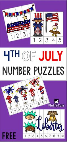 of July Number Puzzles : FREE 4 Exciting Puzzles! Preschool Puzzles, Math Activities For Kids, Preschool Themes, Math For Kids, Teaching Kids, Kids Learning, 19 Kids, Preschool Director, Number Puzzles