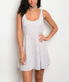 Take a look at this Gray Embroidered Skater Dress today!
