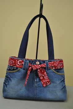 First time I have tried this, purse made from a recycled denim skirt, was very easy - no pattern needed.                                                                                                                                                                                 More
