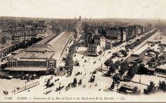 Panorama de la rue de Lyon (au milieu), le boulevard de la Bastille et l'ancienne gare de la Bastille.
