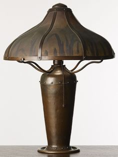 (Lillian) PALMER COPPER SHOP, San Francisco, 1910-1918, hammered copper lamp with painted mesh shade. Designed by August Tiesselinck after he worked for Dirk van Erp.