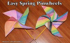 Mom to 2 Posh Lil Divas: Spring Craft: Easy Kid's Pinwheel! Spring Crafts For Kids, Craft Projects For Kids, Easy Crafts For Kids, Summer Crafts, Toddler Crafts, Preschool Crafts, Fun Crafts, Art For Kids, Children Crafts