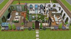 Front view of first floor of single female house with indoor atrium - in my Sims Freeplay