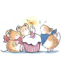 I enjoy the thought of mice celebrating with a cupcake Penny Black Karten, Penny Black Cards, Penny Black Stamps, Maus Illustration, Illustrations, Watercolor Animals, Watercolor Cards, Cute Images, Cute Pictures