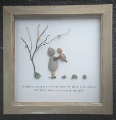 Pebble art picture, handmade,mothers day present,gift daughter son, love art, pebble art,mothers day art, mum picture, mothers day gift,mum by CoastalPebblesShop on Etsy
