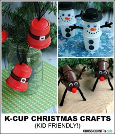 Three adorable K-cup up-cycling projects. These Christmas craft ideas are kid friendly and would be a perfect class party activity!