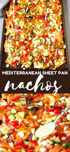 Beware! There's a good chance you won't be able to stop eating these Mediterranean sheet pan nachos. Goat cheese and a quick hummus dressing make the flavors pop. 182 calories and 5 Weight Watchers SP | Vegetarian | Easy | Recipe | Pita chips | Healthy | Best #sheetpannachos #healthynachos #vegetariannachos #appetizers #weightwatchers Healthy Nachos, Vegetarian Nachos, Vegetarian Recipes Easy, Mexican Food Recipes, Whole Food Recipes, Healthy Recipes, Top Recipes, Diabetic Recipes, Best Cocktail Recipes