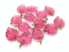 Rosey Pink Glass Birch Leaf with Brass Loop 19mm by TheDutchTulip (Craft Supplies & Tools, Jewelry & Beading Supplies, Beads, Flower, Leaf & Plant Beads, glass, birch, leaf, leaves, textured, 3d, grass, nature, jewelry supply, smooth, shiny, pink, rose)