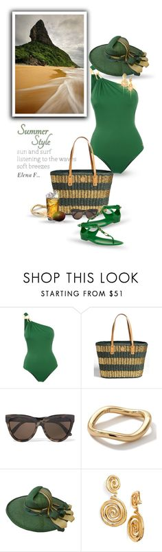 """......"" by elenaf ❤ liked on Polyvore featuring Água de Coco, Tory Burch, Le Specs, Ippolita, Ralph Lauren Collection, ESPRIT and Oscar de la Renta"
