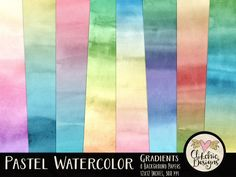 Watercolor Digital Paper Pack - Pastel Water color Paint Gradient Textured Digital Scrapbook Paper by ClikchicDesign by Clikchic Designs Pastel Watercolor, Watercolor Background, Watercolor Texture, Graphic Design Tools, Tool Design, Pastel Gradient, Scrapbook Background, Paper Background, Digital Texture