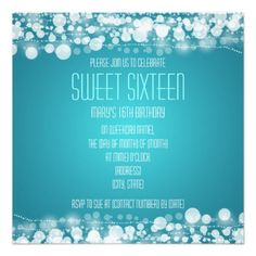 Sweet Sixteen Party Dotted Decoration Blue Personalized Invite   $1.70