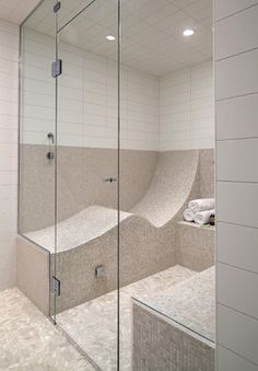 Love This shower. contemporary bathrooms, new homes, seat, stand up shower, dream hous, bathroom designs, sauna, dream shower, steam room