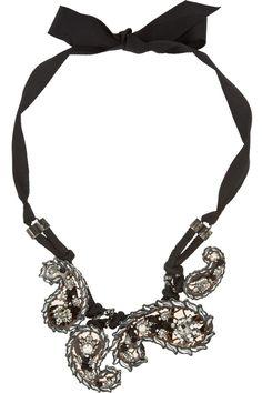 Lanvin|Udaipur gunmetal-tone crystal necklace|NET-A-PORTER.COM