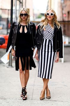 Girls. Streetstyle. Black and white.