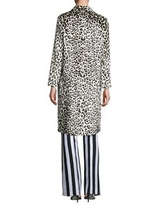 -72FV Nina Ricci Striped Sateen Wide-Leg Pants, White/Blue Leopard-Print Three-Button Coat Ribbed Knit Tie-Neck Sweater, Black