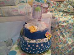 Diaper cake for twin boys! #diapercakesbymona #diapercake