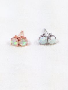Opal Stud Earrings in Silver or Rose Gold by NorthCoastCottage