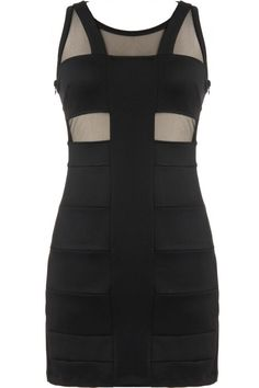 """Noir Bandage Dress: Features sexy mesh panelling across the bodice and backside, beautiful """"Y"""" design at front, bandage-style lower portion, and a sexy body-conscious fit to finish."""