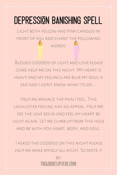 Try this depression banishing Spell! Wicca For Beginners, Witchcraft Spells For Beginners, Healing Spells, Magick Spells, Candle Spells, Candle Magic, Witch Spell Book, Witchcraft Spell Books, Green Witchcraft
