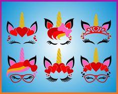 Valentine's Day SVG Unicorn Face SVG files Unicorn SVG Unicorn Head Iron On Transfer pdf jpg png dxf Cut File Cricut Silhouette unicorn svg Unicorn Head, Iron On Transfer, Pikachu, Valentines Day, Cut Outs, Unique Jewelry, Creative, Handmade Gifts, Cricut