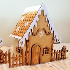 This quaint gingerbread house is super cute and super fun to make for adults and children alike! The house stands 21cm x 25W. All components are laser cut from 3mm MDF, 6mm MDF and White Felt. Superglue and instructions are included in the kit.