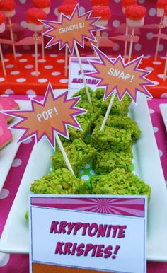 Kryptonite krispies for Mars Superhero Birthday