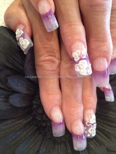Glitter fade acrylic with 3D flower nail art