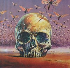 The Green Brain - art by Bruce Pennington Crane, Alien Music, Man In The Maze, Crown Art, Post Mortem, Skull Artwork, Skull Drawings, Skull Painting, Watercolor Paintings