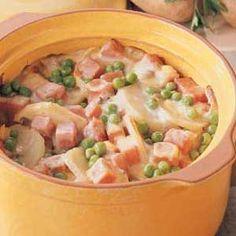 ham casserol, ham bake, meat and potatoes recipes, ham and potatoe casserole, potato ham