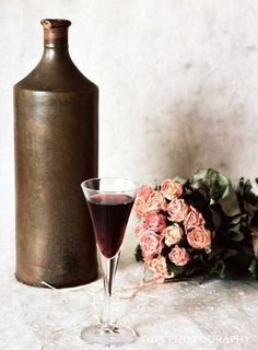 Still life No. 001 - 6x8 - Nature Wall Art - Art Print - Fine Art Photo - red wine - vintage - rose -romance