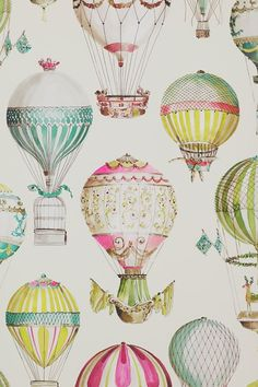 View L'ENVOL 03079 by Manuel Canovas at Ethnic Chic. Worldwide Shipping Wallpapers Manuel Canovas Paper Fantasy / Graphics Large Pattern By The Roll Air Ballon, Hot Air Balloon, Of Wallpaper, Designer Wallpaper, Wallpaper Ideas, Ballon Illustration, Print Patterns, Artsy, Baby Shower