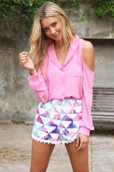 Pink Quartz Top & Patterned shorts