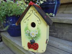Whimsical Ladybug and Hand Painted Floral Front Birdhouse, Folk Art, Yard Art, Garden Decor, Outdoors, Repurpose by Imperfetions on Etsy