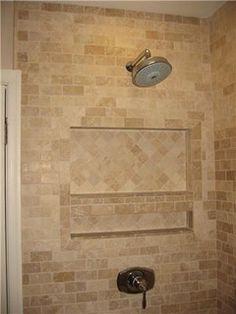 I like this design! Travertine bath tile