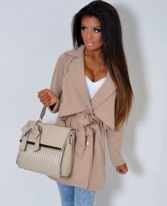 Just Ace Beige Double Breasted Mac Style Coat