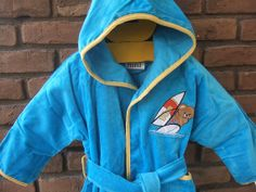 Hooded kids bathrobe with embroidery 1/2 years velour by ADYALI, $18.90